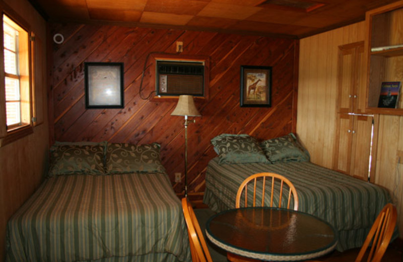 Cabin bedroom at The Exotic Resort Zoo.