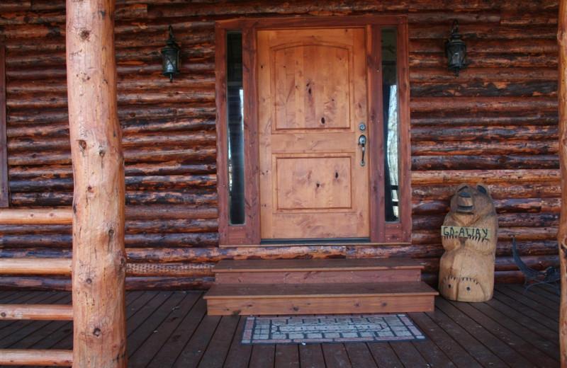 Cabin entrance at Lake Mountain Cabins.