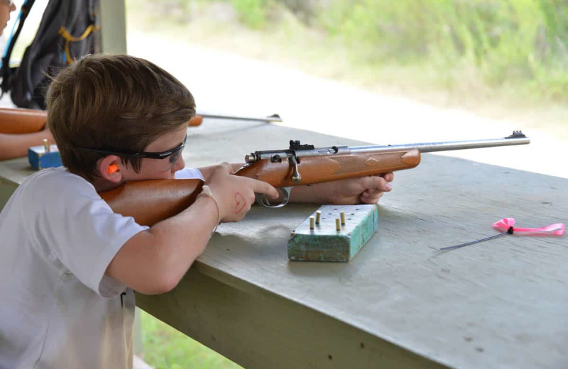 Shooting practice at Camp Balcones Spring.