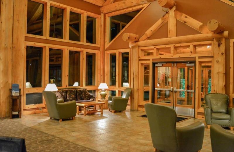 Lobby at The Lodge at Giants Ridge.
