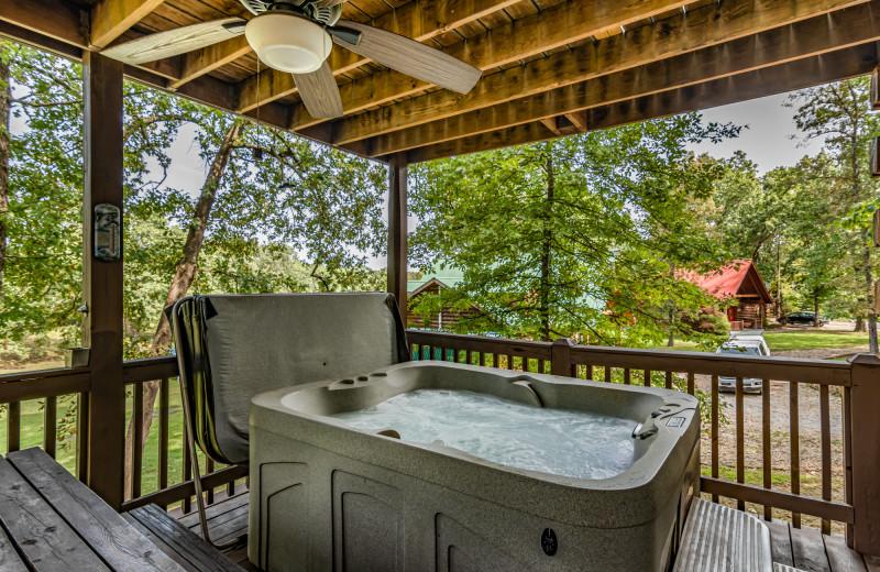 Rental hot tub at Amazing Branson Rentals.
