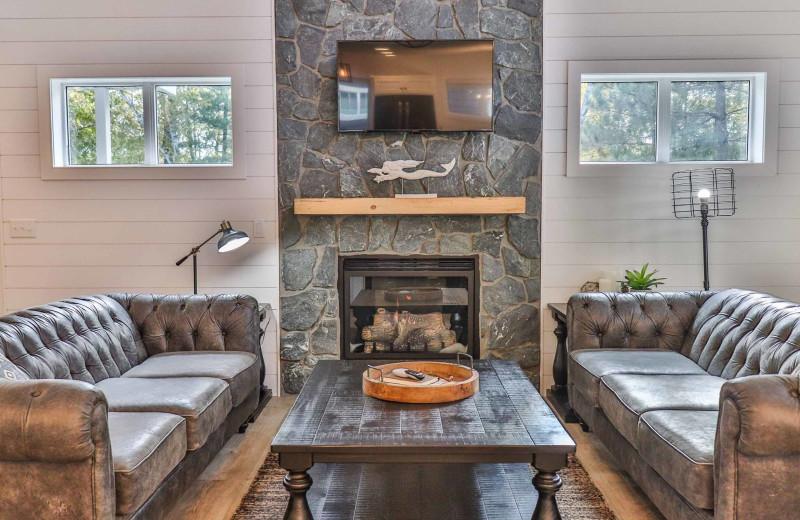 Cabin living room at Lost Lake Lodge.
