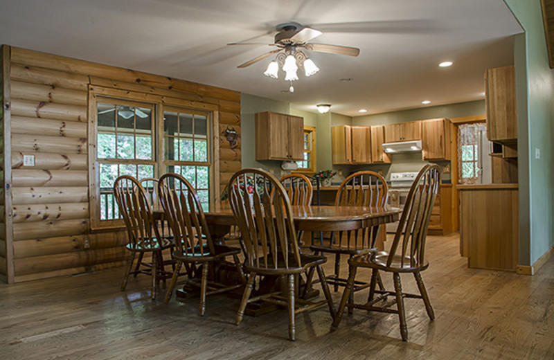 Dining and kitchen at Hideaway Haven.
