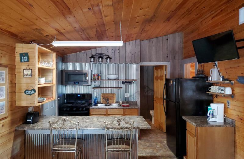 Cabin kitchen at Pine Beach Resort-Side Lake.