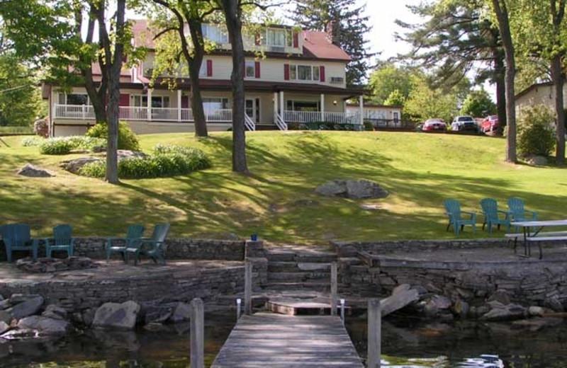 Resort view from dock at Ehrhardt's Waterfront Resort.