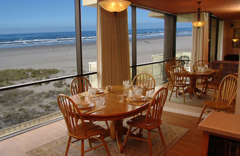 Condo dining table at Sand & Sea Condominums.