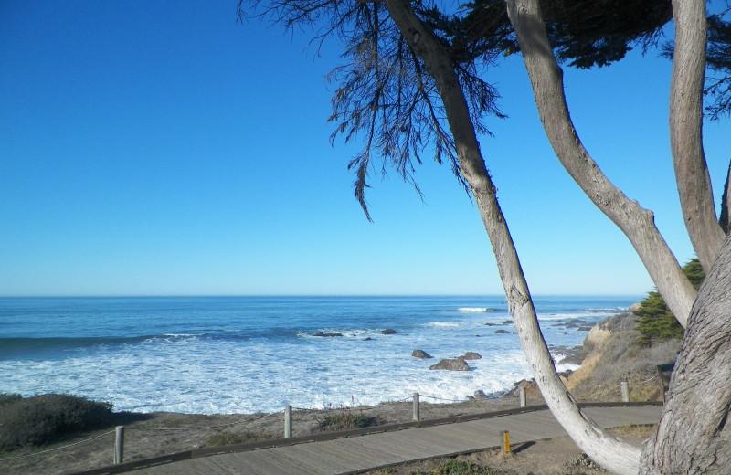 Moonstone Beach boardwalk near Cambria Pines Lodge.