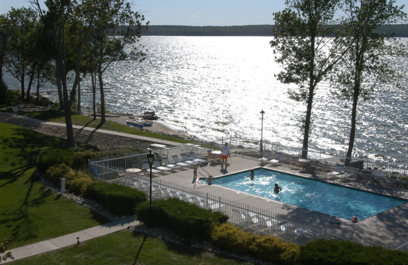 View of lake and pool at Westwood Shores Waterfront Resort.