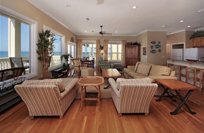 Rental living room at Royal Beach Rentals.