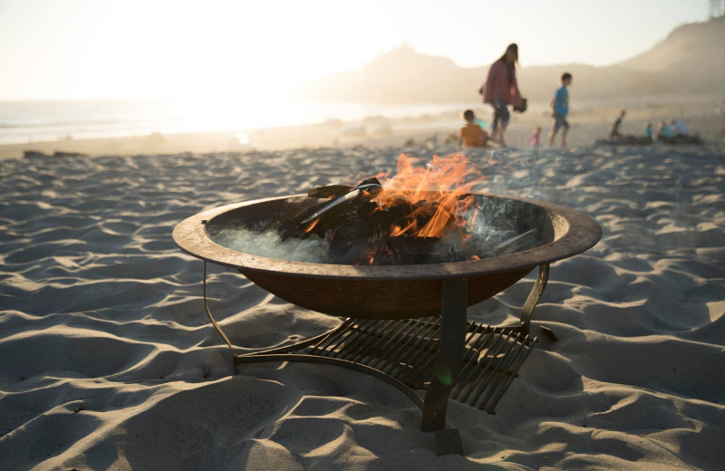 Beach bonfire at Shorepine Vacation Rentals.
