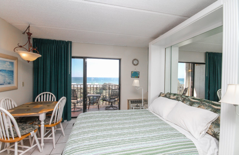 Guest room at Beacher's Lodge Oceanfront Suites.