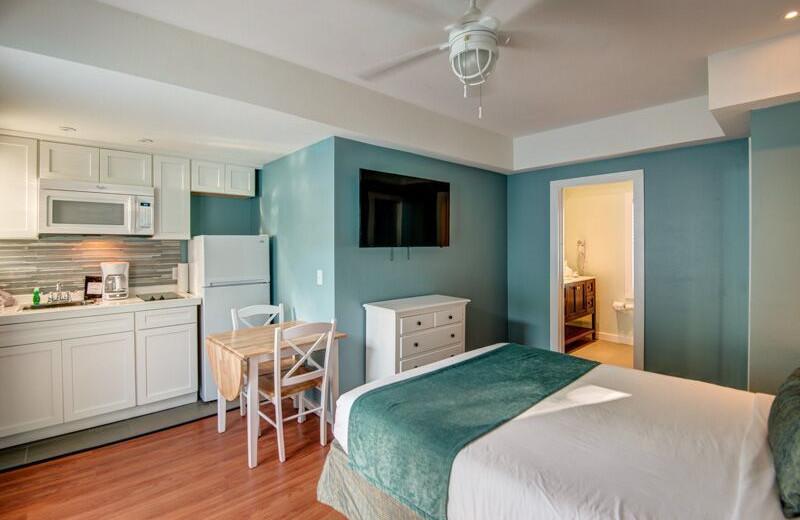 Guest room at Lighthouse Resort Inn & Suites.