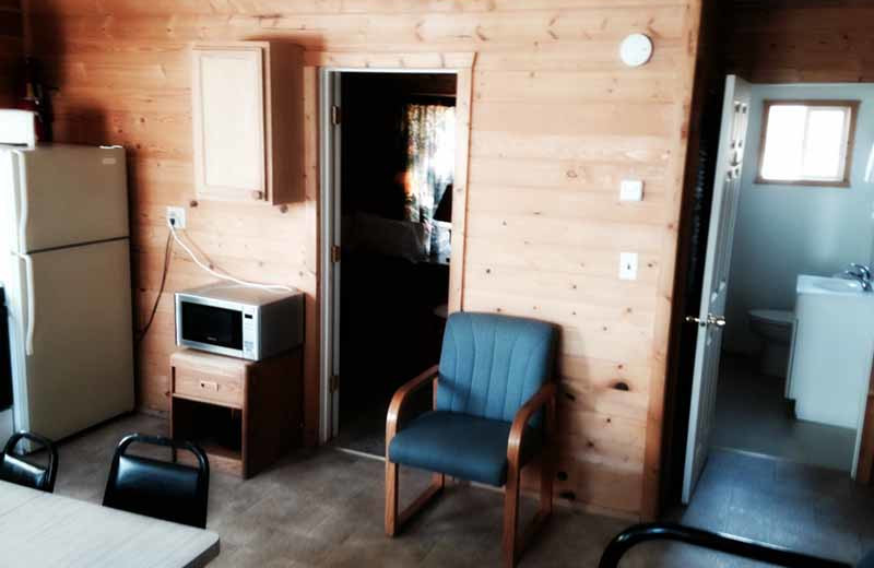Cabin interior at River Bend's Resort & Walleye Inn.