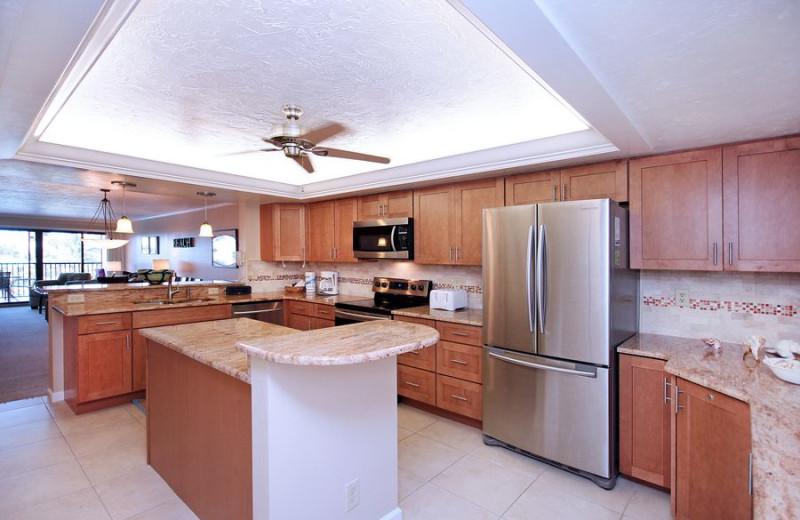 Rental kitchen at VIP Vacation Rentals LLC.