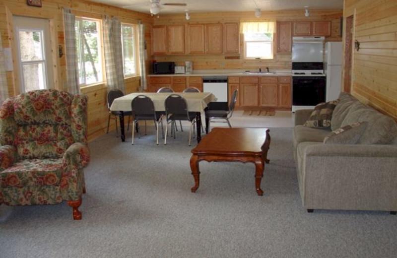 Cabin living room at Six Lakes Resort.