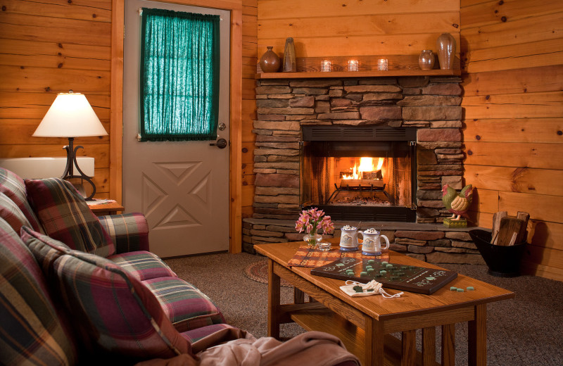 Cabin living room at The White Oak Inn.