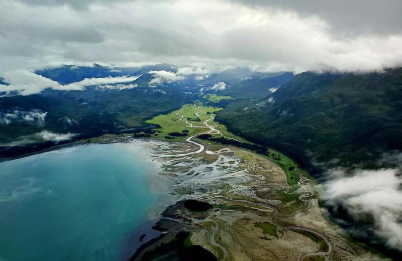 Aerial view of Elfin Cove Resort.