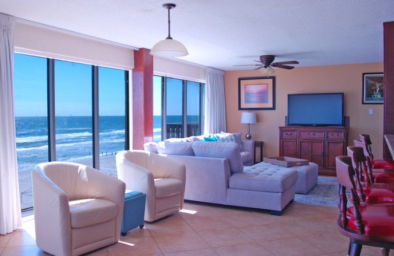 Guest room at Island House Beach Front Condominiums.