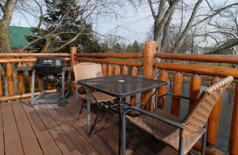Cabin deck at Fireside Chalets & Cabin Rentals.
