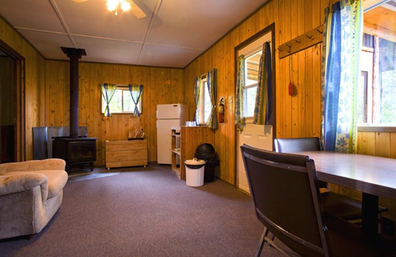 Cabin interior at Uchi Lake Lodge.