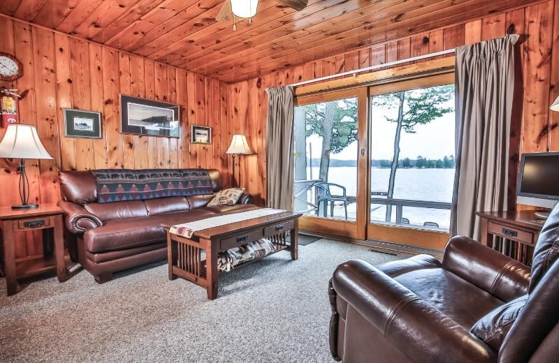 Cabin living room at Serenity Bay Resort.
