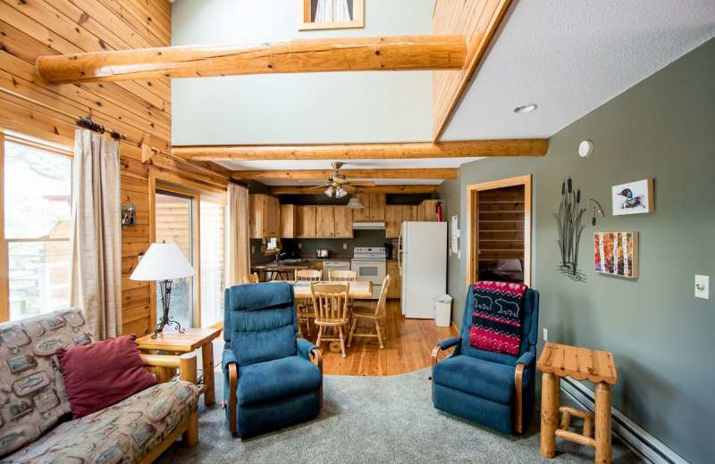 Cabin interior at Breezy Point Resort on Straight Lake.