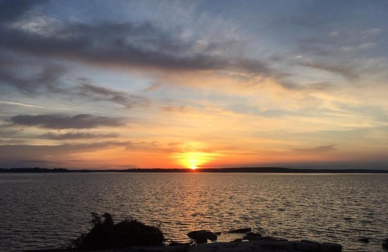 Sunset on lake at Ballard's Black Island