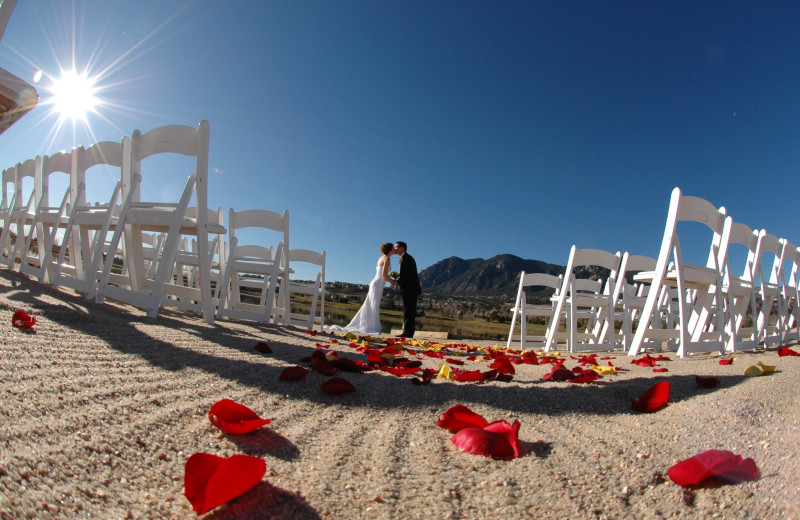 Beach wedding at Cheyenne Mountain Resort.