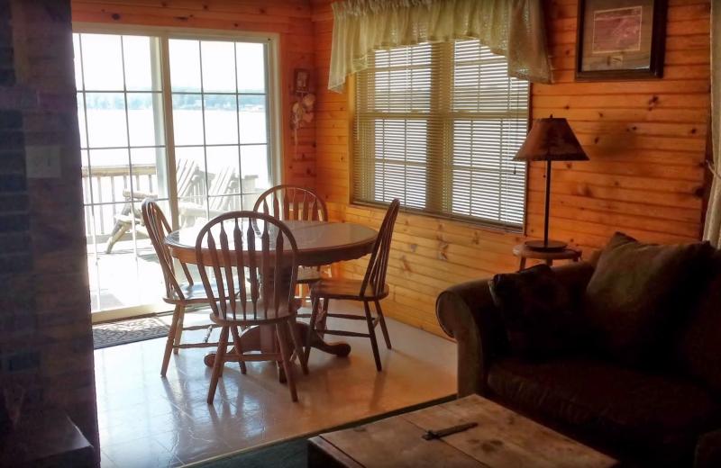 Cabin dining room at Evans Lake Resort.