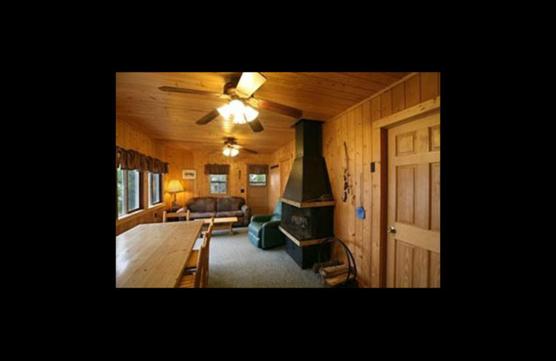 Cabin living room at Broadwater Lodge.