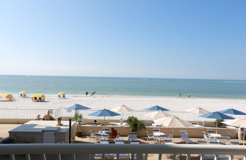 Guest balcony view at Shoreline Island Resort.