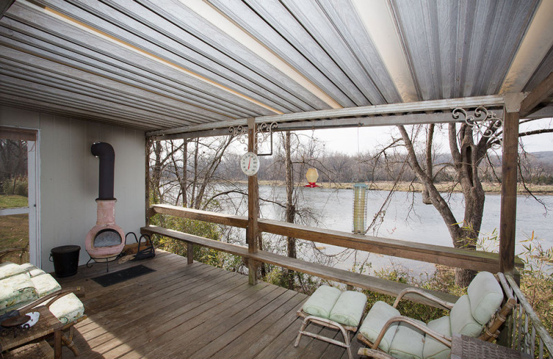 Cabin deck at His Place Resort.