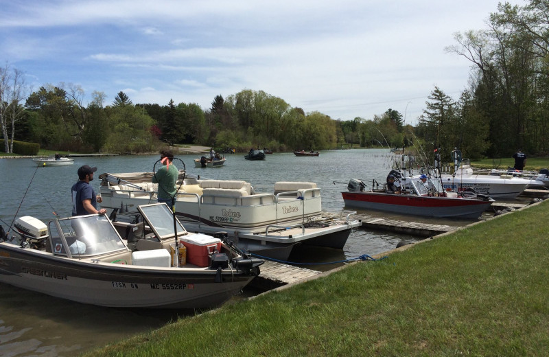 Boats at Lake Leelanau Narrows Resort.