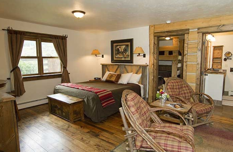 Cabin bedroom at C Lazy U Ranch.