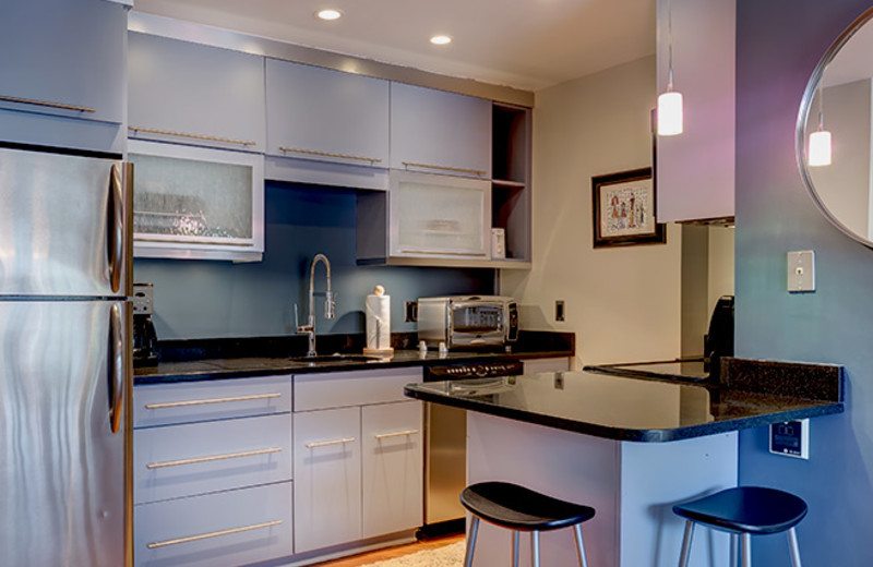 Rental kitchen at Bear Claw Condominiums.