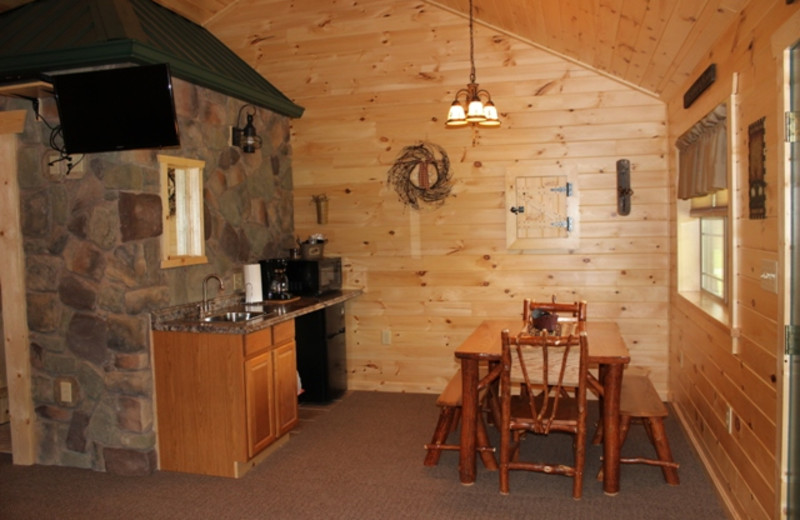 Cabin kitchen at 7C's Lodging.