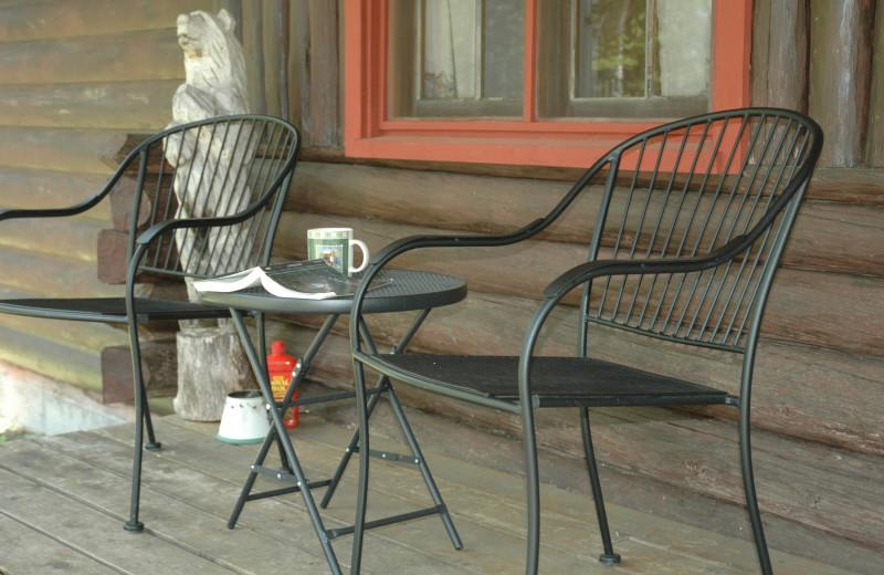 Cabin porch at Heston's Lodge.