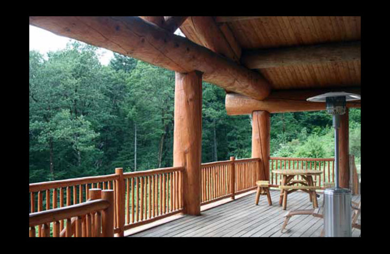 Deck view at River Mist Lodge.