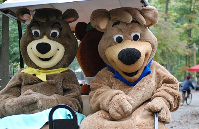 Mascots at Yogi Bear's Jellystone Park Gardiner.