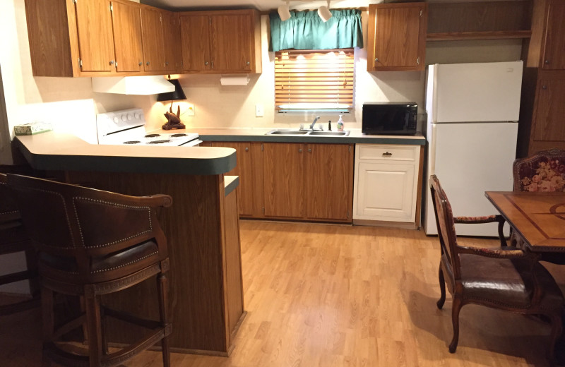 Cabin kitchen at Buckhead Ranch.