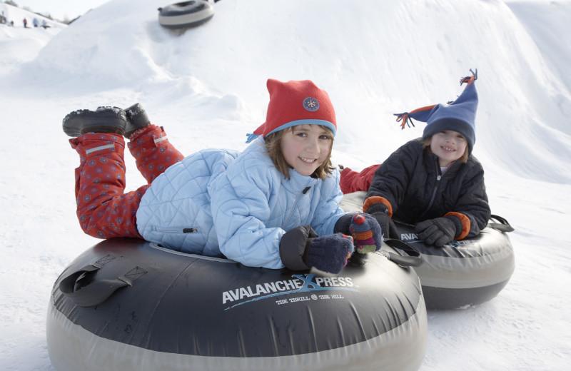 Kids snow tubing at Heritage Hills Golf Resort.