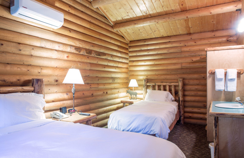 Cabin bedroom at North Forty Resort.