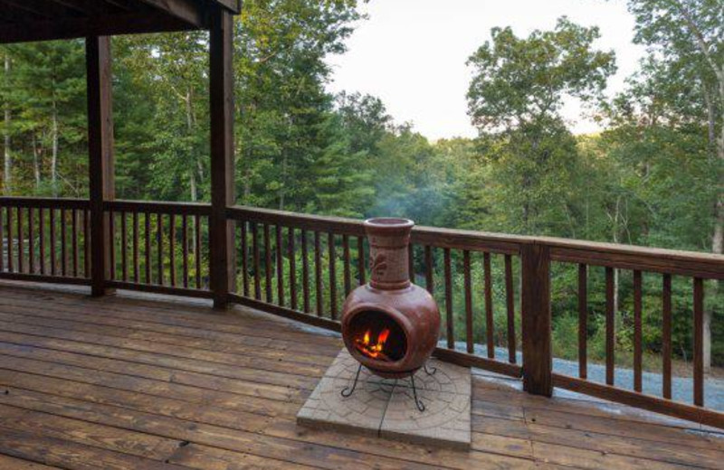 Cabin deck view at Blue Sky Cabin Rentals.