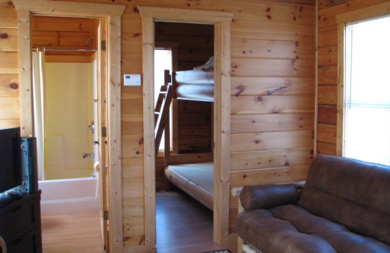 Cabin interior at Copperhead Lodge.