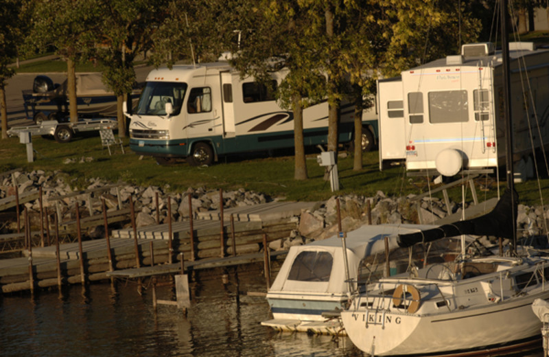 Camping at Arnesen's Rocky Point Resort.