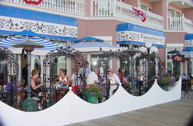 Outdoor patio at Boardwalk Plaza Hotel.