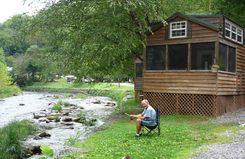 Fishing by cabin at Yogi in the Smokies.