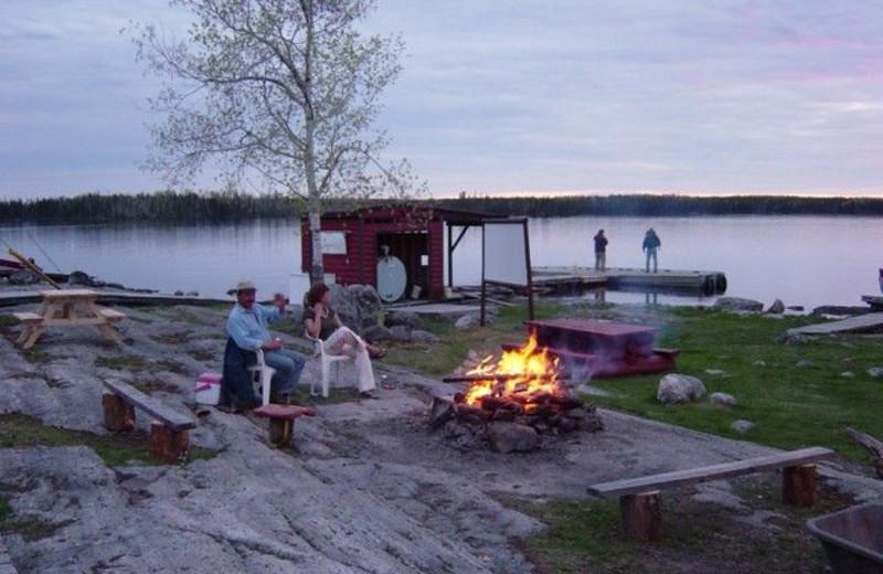 Campfire at Uchi Lake Lodge.