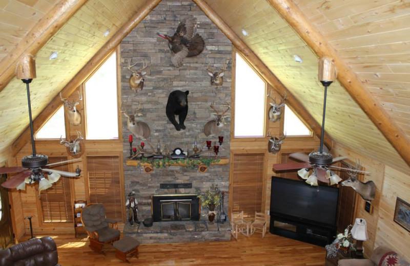 Lodge fireplace at Saddleback Lodge.