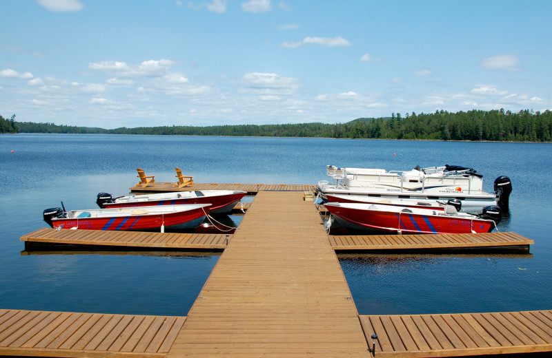 Dock and boats at Obabika Resort.